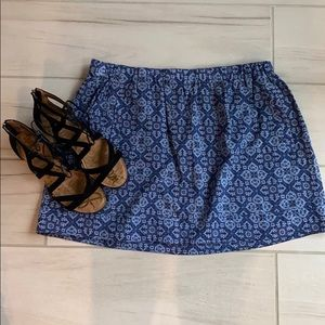 J. Crew Blue Patterned Mini Skirt